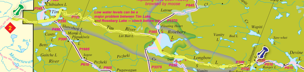 Route map of Tim to Sittingman Lake